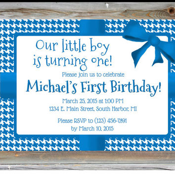 First Birthday Party Invitation for Boy - Houndstooth Birthday Party - Blue 1st Birthday Invitation