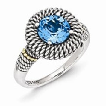 Sterling Silver w/14k Yellow Gold Antiqued Light Swiss Blue Topaz Ring