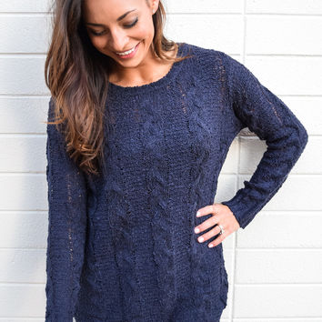 Carbondale Cable Knit Sweater Navy