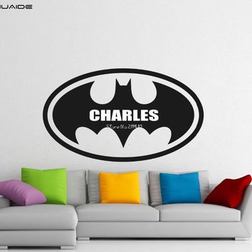 Batman Dark Knight gift Christmas Personlized Name New Design Batman Logo Wall Stickers For Kids Room Vinyl Baby Boy Name Nursery Wall Decal Waterproof Mural A478 AT_71_6