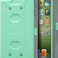ULAK iPod Touch 6 Case,iPod Touch 5 Case,[KNOX ARMOR] Dual Layer Hybrid Protective Cover with Belt Clip Holster  - Retail Packaging - Green