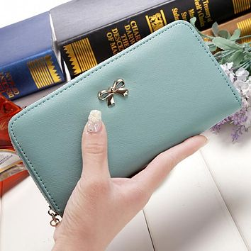 Cute Bowknot Women Long Wallet Pure Color Clutch Bag Purse Phone Card Holder Bag Wallet