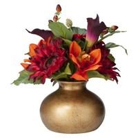 Threshold™ Artificial Table Arrangement Fall Colored Dahlias in Gold Vase 10.5""