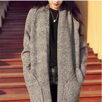 Grey & Camle Color Long Section Women Cardigan Sweater Autumn Winter Mohair Warm Plus Size Knitted Outerwear Female Sweater Coat