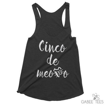 Cinco de Meowo (Black & White) - Tank Top | Drinking Shirt | Kitten Me Right Meow | Cinco de Mayo | Mexican Fiesta | Cat Pun Shirt  | Gift