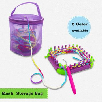 Looen Yarn Case Yarn Storage Baskets Knitting Yarn Round Plastic Bags Portable Lightweight and Easy to Carry for Yarn Project