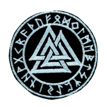 Valknut Odin Viking Symbol Patch Iron on Applique Alternative Clothing Old Norse Mythology
