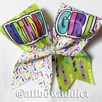 BIRTHDAY GIRL  Dyed Glitter Cheer Bow