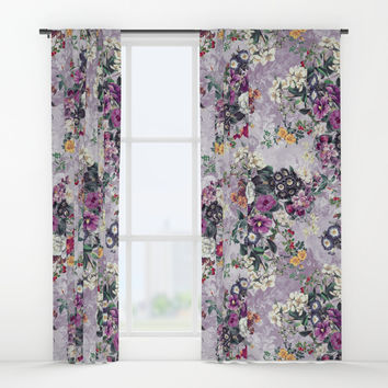 Botanical Flowers Purple Window Curtains by RIZA PEKER