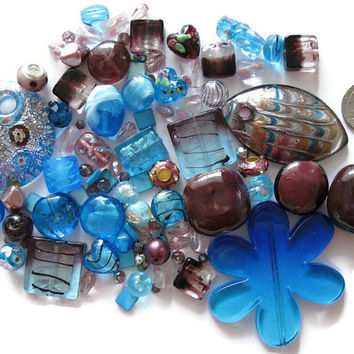 Over 95 Pcs. Assorted Purple Blue Beads Pendants Lampwork Glass Acrylic Ceramic Jewelry Making Crafts