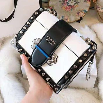 PRADA High Quality Fashion Women Shopping Bag Leather Metal Chain Rivet Crossbody Satchel Shoulder Bag