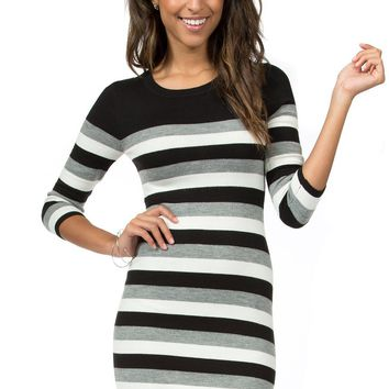 Teeze Me | 3/4 Sleeve Round Neck Striped Sweater Dress | Black/Off-White