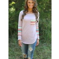 Tops Print With Pocket Patchwork T-shirts Bottoming Shirt [6338698948]