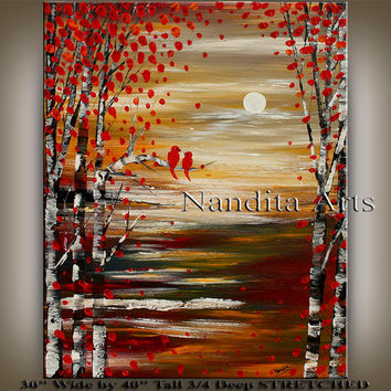ABSTRACT Large Oil PAINTING Original Artwork Landscape, Scenic Paintings Modern Art Bird Animal Textured huge décor Gallery Artist Nandita