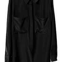 ROMWE | Buttoned Pocketed Black Loose Blouse, The Latest Street Fashion