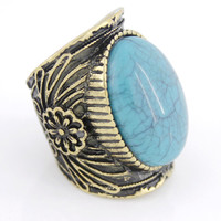 Vintage Retro Gold-tone Blue Natural Turquoise Color Ring,Size 7