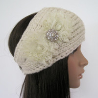 Ivory Winter White Knit  Ear Warmer Headband Head Wrap with Ivory Chiffon  Flowers and Matching Accent