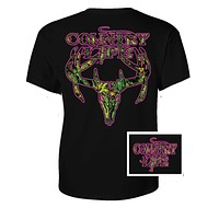 Country Life Outfitters Black & Pink Camo Realtree Deer Skull Head Hunt Vintage Bright T Shirt