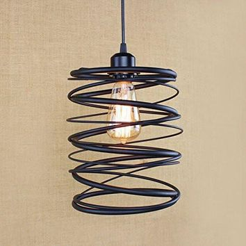 Kiven Industrial Vintage Weathered Pendant cage Light Victorian Lampshade