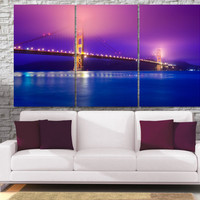 High Quality Large San Francisco City Canvas Print - Golden Gates Bridge Framed Wall Art -  Hand Made in Europe for Home and Office_LC035