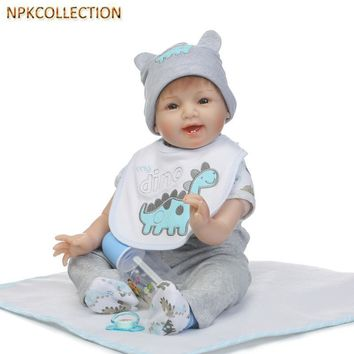 NPKCOLLECTION 50 CM Silicone Reborn Baby Doll Toys Lifelike Baby-Reborn Real Doll Child Birthday Christmas Gift Girls Brinquedos