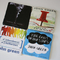 John Green Book Cover Coasters. Fault in our Stars, Looking for Alaska, Paper Towns, and An Abundance of Katherines