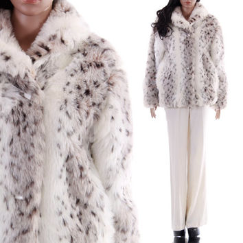90s Snow Leopard Faux Fur Coat Fluffy Plush Spotted Gray White Quilted Club Kid Raver Winter Outerwear Womens Size Small Medium