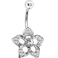 Body Candy Stainless Steel Barbell Serene Clear Accent Flower Belly Ring