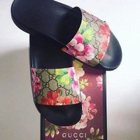 Gucci Casual Fashion Men Women Floral Print Sandal Slipper Shoes