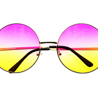 Pink Yellow Lens Large Oversized Metal Circle Round Sunglasses R1802