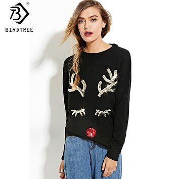 Warm Sequin Knitted Sweater Pullover 2017 Fall Winter Knitwear Soft Black Deer Ugly Christmas Sweater
