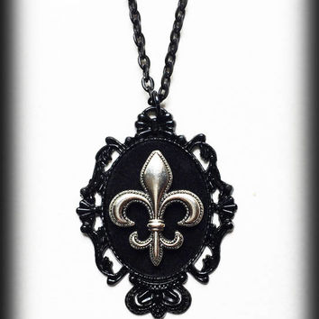 Fleur de Lis Necklace, Gothic Victorian Velvet Cameo Pendant, Black Baroque Frame, Gothic Jewelry, Gift For Her, Alternative Jewelry