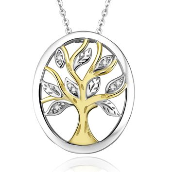 925 Sterling Silver and 18k Yellow Gold Two-Tone Family Tree Cubic Zirconia Pendant Necklace