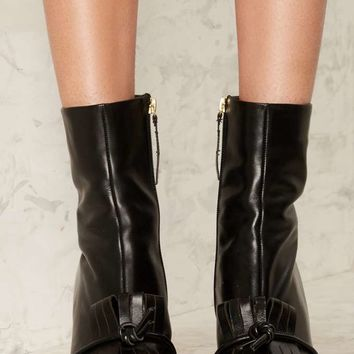 Lavish Alice Toe the Line Leather Boot