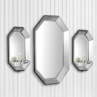 Octagon Mirror and Wall Sconce Set