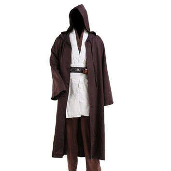 Star Wars Fancy Jedi Cloak Cosplay Costumes Adult Men Hooded Robe Cloak Cape Costume Halloween Christmas Dress Black Brown