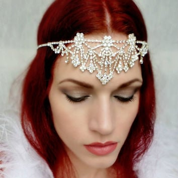 Art Deco Nouveau Rhinestone Headpiece Crystal Gypsy Headdress - Bridal, Dance, Formal