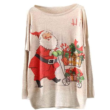 Women's Knitted Batwing Long-Sleeve Loose Fit Sweater