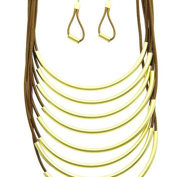Brown Multi Layer Cord Bib Necklace And Earring Set