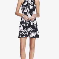 FLORAL PRINT FIT AND FLARE HALTER DRESS from EXPRESS