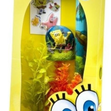 AQUATICS - ORNAMENTS/DECOR - SPONGEBOB TANK DECORATING KIT - ORNMNT/BCKGRND/2PLNTS/SHELLS - PENN PLAX INC - UPC: 30172082924 - DEPT: AQUATIC PRODUCTS