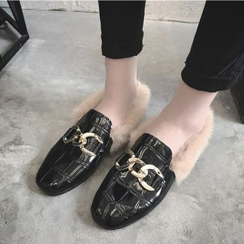 Women Fashion All-match Patent Leather Chain Plush Chunky Heel Single Shoes Loafer Flats Shoes