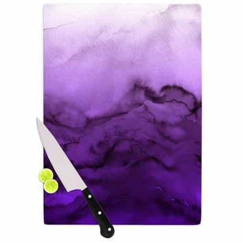 "Ebi Emporium ""Winter Waves 9"" Purple Abstract Cutting Board"