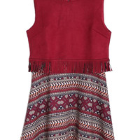 Wine Red Geometric Print Suedette Panel Tassel Sleeveless Dress