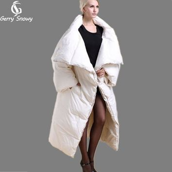 Winter coat 2018 long quilt down coat personality thickening thermal winter clothes down jacket women coat black/white