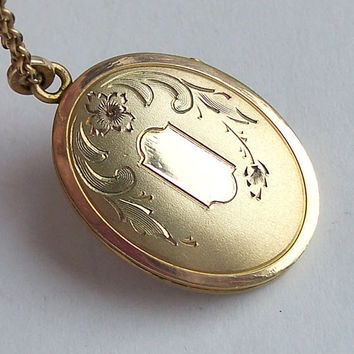 Antique Art Nouveau Locket Necklace,Antique Locket,Gold Filled Locket,Oval Locket,Floral Locket,Flower Locket,Gold Locket,Locket Necklace