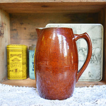 Vintage Brown Pottery Pitcher, Stoneware Pitcher, Brown Glazed Pottery, Hand Made Pottery
