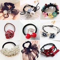 Fashion Women Girls Hair Ties 21 Types Flowers Pearls Hair Band Ponytail Holder
