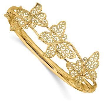14k Yellow Gold Filigree Butterfly Hinged Bangle Bracelet