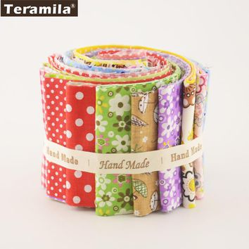 Teramila New Arrivals Colorful Design 7 PCS / Lot  9CMx50CM Sewing Material Cotton Jelly Rolls Strips Plain Fabric Patchwork